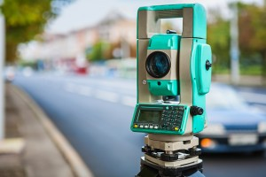 close up view on theodolite urban street